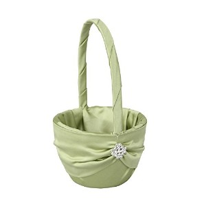High Quality Garbo Collection Flower Girl Basket for Weddings, Lime Green
