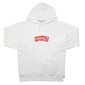 SUPREME シュプリーム ×COMME des GARCONS SHIRT 17SS Box Logo Hooded Sweatshirt BOXロゴパーカー 白 L 並行輸入品