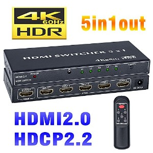 BLUPOW HDMI切替器 5入力1出力 4K60Hz HDR 3D HDMI2.0 HDCP2.2対応 hdmi セレクター hdmiスイッチ PS4 Pro・Xbox・Blu-ray...