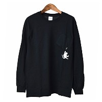 リップンディップ RIPNDIP HANG IN THERE LONGSLEEVE TEE(BLACK) (S)