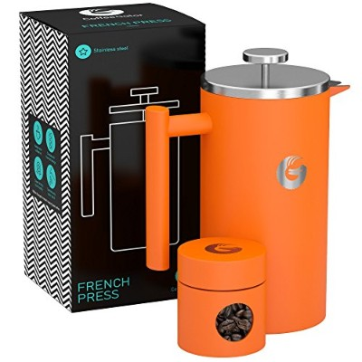 (1010ml, Orange) - Large French Press Coffee Maker - Vacuum Insulated Stainless Steel, 1010ml,...