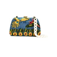 Serpui embroidered raffia clutch - ブルー
