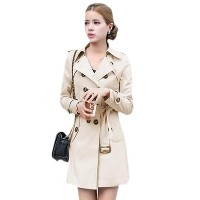 Double Breasted Long Sleeve Solid Womens Trench Coat
