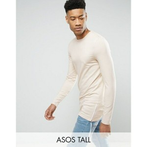 エイソス メンズ Tシャツ トップス ASOS TALL Longline Muscle Long Sleeve T-Shirt With Side Zips Beige