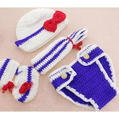 M&G House Baby Newborn Photography Prop Handmade Crochet Knitted Sailor Navy Stripe Anchor Hat...