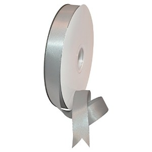 High Quality 08822/00-007 Double Face Satin Polyester Ribbon, 7/8 by 100 yd., Shell Grey