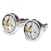 PenSeeスチームパンク時計メカニズムCufflinks for Men withギフトbox-variousスタイル