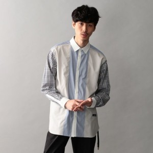 【GUILD PRIME ギルドプライム】 【Education from Youngmachines】MENS チェックスリーブコンビシャツ ベージュ メンズ