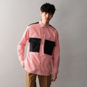 SALE【GUILD PRIME ギルドプライム】 【Education from Youngmachines】MENS ギンガムチェックコンビシャツ ピンク メンズ
