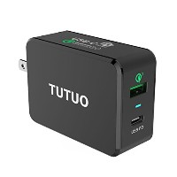 TUTUO USB C PD 充電器 Type-C Power Delivery + Quick Charge 3.0 急速 チャージャー AC アダプター 33W 2ポート Iphone X /...