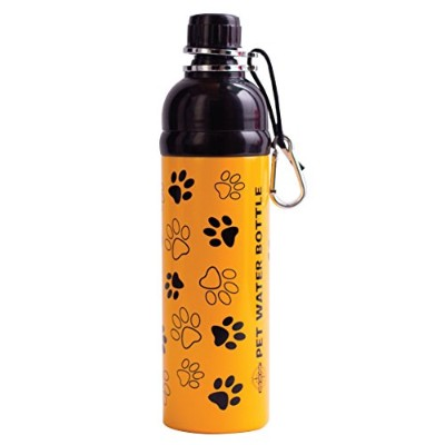 Good Life Gear Stainless Steel Pet Water Bottle, 24-Ounce, Yellow Puppy Paws Design by Good Gear for Life