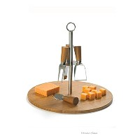 Carryingキャディ竹Appetizer Platterカッティングボードwith Hanging 4チーズナイフ