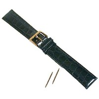 Watch Band x-long Crocodile Grainレザーブラック18 mm