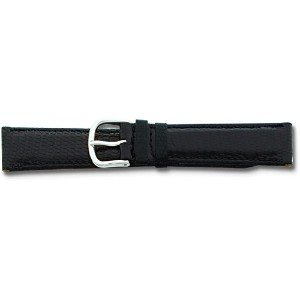 De beer Black Genuine Lizard Leather Watch Band 20 mmシルバーカラー