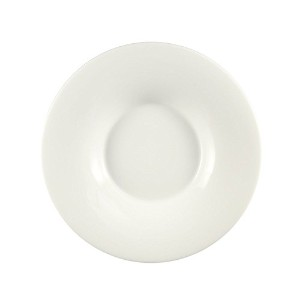 CAC China SHA-F105 Sushia Super White Porcelain Round Coupe Plate with Wide Rim, 10-3/4 by 10-3/4...