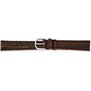 De beer brown genuine Lizard Leather Watchバンド19 mmシルバーカラー
