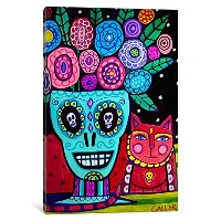 iCanvasART hgl3 Day of the Dead flower byヘザーGallerキャンバス印刷 18-Inch by 12-Inch, 0.75-Inch Deep HGL3...