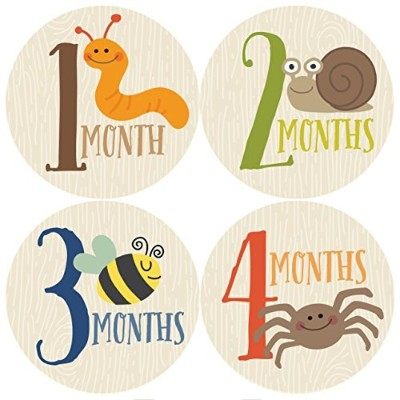 Monthly Baby Stickers, Critters, Baby Boy Stickers by Penny & Prince Designs LLC