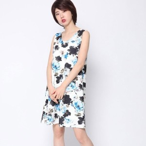 【SALE 63%OFF】ルーミィーズ  Roomy's OUTLET 大花柄AラインOP (ブルー)