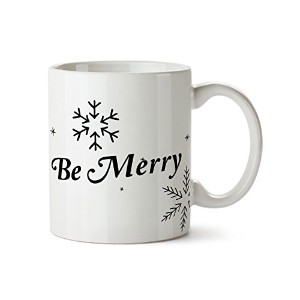 Be Merry and Snowflakes磁器コーヒーマグ- 11 oz- Happy Holidays Gift