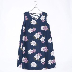 【SALE 50%OFF】ミーア プロデュースド バイ ルーミィーズ MIIA produced by Roomy's OUTLET グラデーションフラワーバックレースアップワンピース (ネイビー)