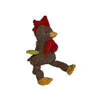 HuggleHounds Plush Corduroy Durable Rooster Knotties Squeak Pet Dog Toys Large