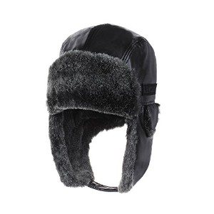 WITHMOONS ボンバーハット Leather Bike Trapper Ear Flap Cap Bomber Hat Faux Fur CR7151 (Black)