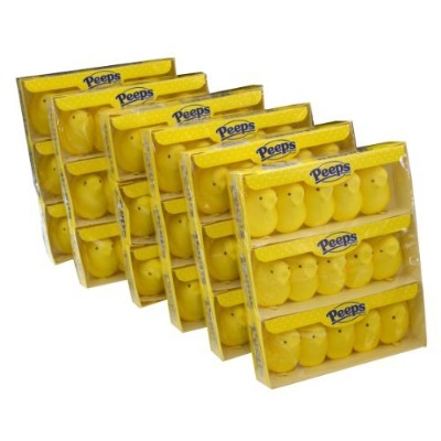 Marshmallow Peeps Yellow Chicks, 4.5-Ounce, 15-Count Boxes (Pack of 6) by Peeps