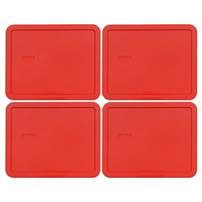 (4) - Pyrex 7212-PC 11 Cup Red Storage Lid for Glass Dish (4, Red)