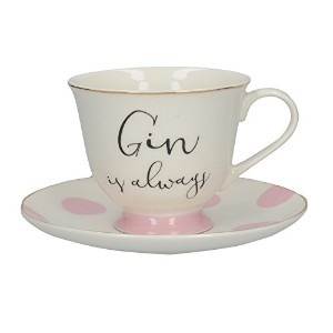 Creative Tops Gin And Tonic Cup And Saucer, Fine China, Multi-colour, 15 x 15 x
