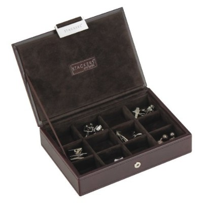 (Brown) - STACKERS - Men's Executive Brown Mini Lidded STACKER with Brown Velvet Finish Lining