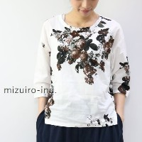 mizuiro ind (ミズイロインド)mizuiro-ind.print boat neck side tucked P/O 2colormade in japan1-237361