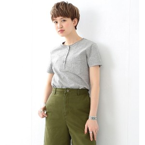 REMI RELIEF×Ray BEAMS / 別注 ヘンリー ポケット Tシャツ グレー【ビームス ウィメン/BEAMS WOMEN レディス Tシャツ・カットソー HEATHER GREY...
