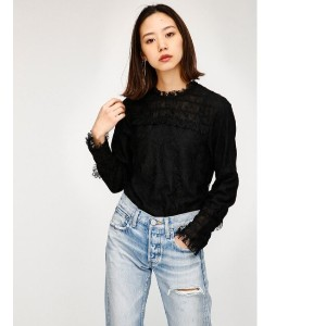 LACE FIT TOP【マウジー/MOUSSY レディス Tシャツ・カットソー BLK ルミネ LUMINE】