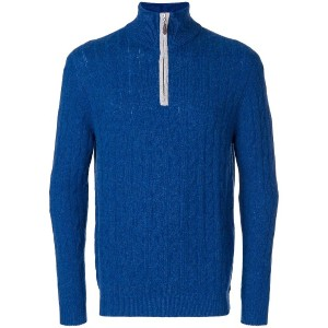 N.Peal cable knit half zip sweater - ブルー