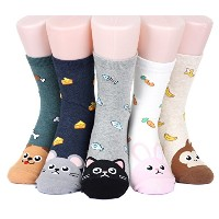 キャラクター 女性 靴下 セット Cute Animal Character Women's Socks 5 pairs (5 color) = 1 pack Made in Korea