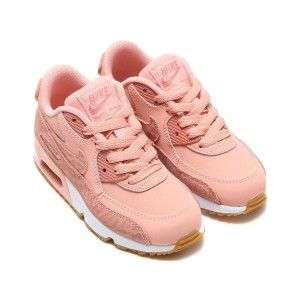 NIKE AIR MAX 90 SE LTR (PS) (ナイキ エア マックス 90 SE レザー PS) CORAL STARDUST/RUST PINK-WHITE【キッズ スニーカー...