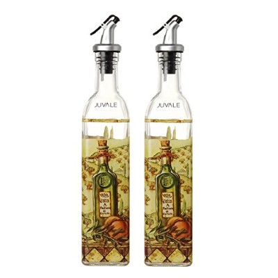 Juvale Oil And Vinegar Dispensers Salad Dressing Cruet Glass Bottle 2 Piece Set - With Lever...