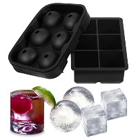 アイスキューブトレイSilicon (ラウンド&スクエア) – Set of 2 – 球Ice Balls with Lid – Makes Giant Ice Balls and Square –...