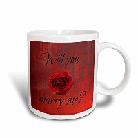 3drose Xander Valentines Day–Will You Marry Me、ブラックLettering on Red Background Withローズ–マグカップ 11...