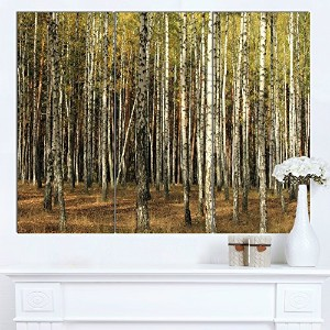 DesignArt mt14002 – 3pグリーンFall Forest With Thick Trees – Largeフォレスト光沢メタル壁アート、グリーン、36 x 28