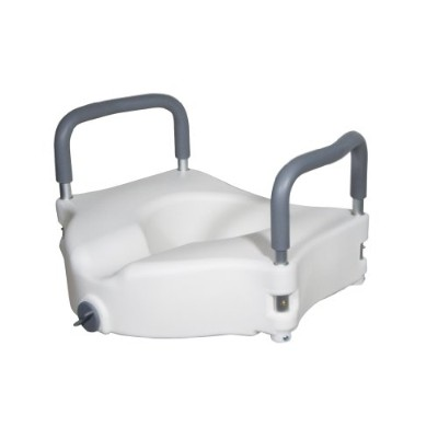 Drive Medical Elevated Raised Toilet Seat with Removable Padded Arms, Standard Seat by Drive Medical