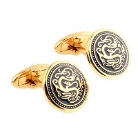 メンズCuff Links Chinese Dragon Long Cufflinks for Men (ゴールド)