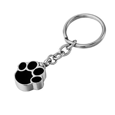 HOUSWEETY Stainless Steel Pet/Dog Paw urn Keychain Memorial Ash Keepsake Cremation Jewellery