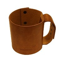Faux Leather Sleeve with Handle / Travel Mug for Wide Mouth Pint Mason, Canning Jars by Mason Jar...