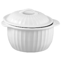 HIC 64-Ounce Lidded Round Casserole Dish, White by HIC Porcelain