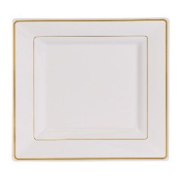 (17cm Salad/Dessert Plates (120 Count), White with Gold Rim) - Kaya Collection - Disposable White...