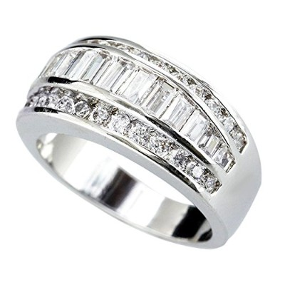 One&Only Jewellery 計1ct テーパーカット ハーフエタニティリング 指輪 K18GP (13号)