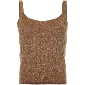 Loveless rib knit vest - ブラウン