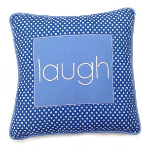 One Grace Place Simplicity Blue Decorative Pillow Laugh, Blue, Light Blue, White by One Grace Place